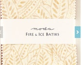 SALE  Moda Fabric  Fire and Ice Batiks, 5 inch squares, ChARM PaCK,  beige, blue, red, black, grey SALE