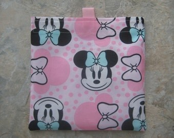 Minnie Mouse - Reusable Sandwich Bag/Snack Bag with tabs