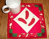 Hot Pepper Candle Mat Mug Rug Coaster Red Hot Chili Pepper Southwestern Decor Red Green Mini Quilt