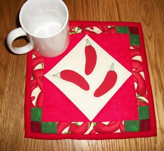 Hot Peppers Candle Mat Mug Rug Coaster Chili Pepper