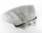 Vintage La Regale Silver Purse with Silver Beaded Handle, Wedding Purse - Sac de Soirée.
