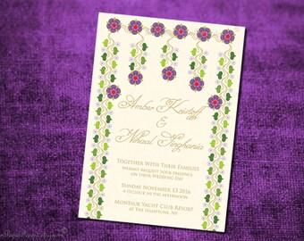 ZOYA Indian Wedding Invitation Card Engagement Party Housewarming Ceremony Bridal Shower Thai Nepali Pakistani Bangladeshi Walima Mehndi New
