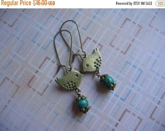 Clearance Vintage Antiqued Tweety Bird Earrings - Antiqued Bronze Bird Charm, Turquoise Gemstone, Kidney Earwire - Clearance Sale