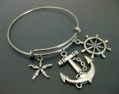 Nautical Bracelet / Beach Bracelet / Anchor Charm Bracelet / Rudder Bangle / Adjustable Bangle  / Expandable Bangle / Charm Bangle /