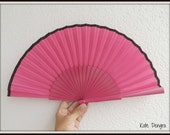 Hot Pink and Black SIZE OPTIONS Fabric Wood Folding Fan Handheld Fan MTO Made to Order by Kate Dengra Spain