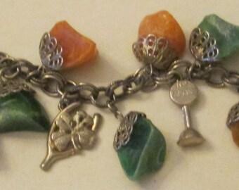 Vintage Charm Bracelet With Orange Light Brown And Green Raw Rocks