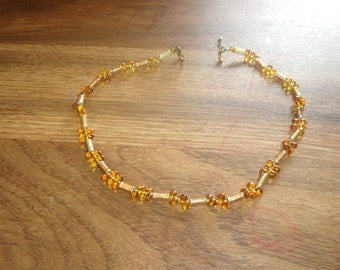 vintage necklace choker goldtone amber glass