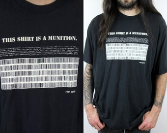 Vintage 90s 1995 - Cyber Punk - Bar Code Hacker Code - This Shirt Is A Munition - Amendments - Black & White T Shirt - Tee