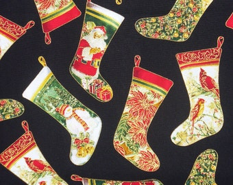 Christmas Fabric, Christmas Stockings, Tossed Stockings,  Timeless Treasures, Santa Stockings, Christmas Trees, Christmas Scenes,By the Yard