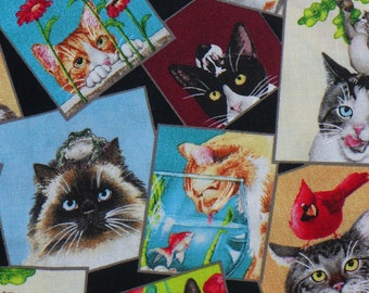 Curious Cats Fabric, Cat Portraits, Cat Pictures, Framed Cats,  Elizabeths Studio, By the Yard