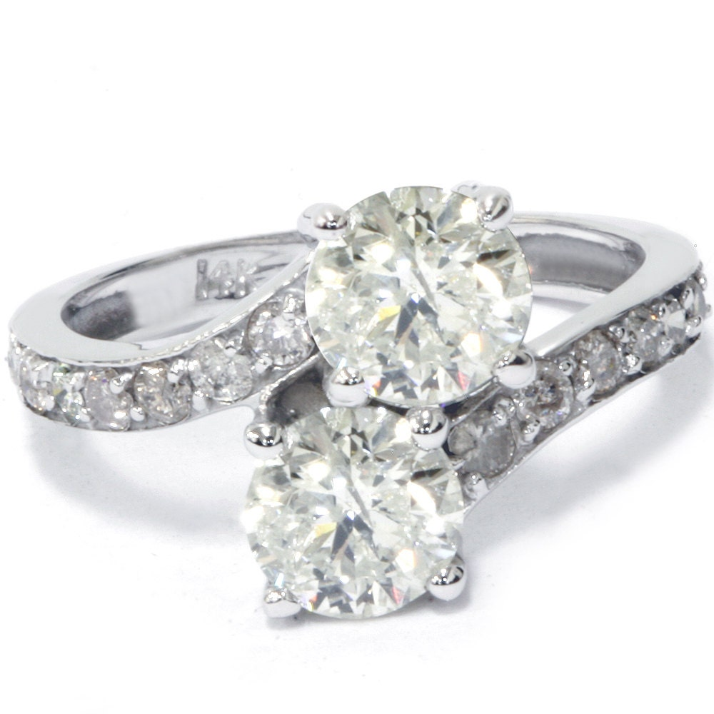diamond engagement ring 2 carat forever us two stone round. Black Bedroom Furniture Sets. Home Design Ideas