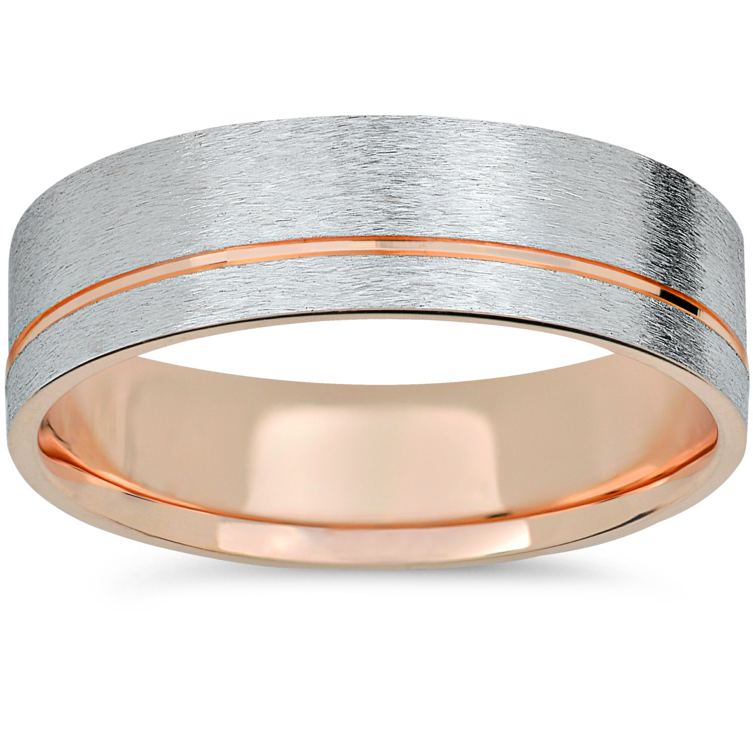 14k Rose Gold Amp White Gold Two Tone Wedding Band Mens Brushed