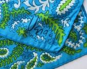 Designer Vera Neumann Silk Neck Scarf Paisley Blues Greens 933a