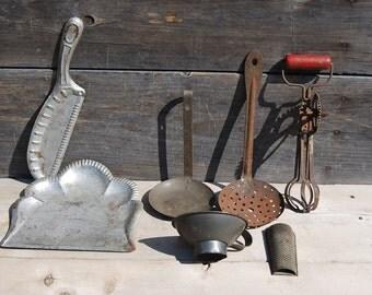 Lot of Kitchen Primitives, Vintage Kitchen Tools, Primitive Country Kitchen Decor