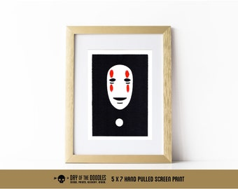 No Face painted 5x7 hand pulled art paper meme print anime gift