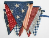4th of July Patriotic Banner/ Red, White and Blue Bunting/ 4th of July Banner/ Labor Day/  Photo Prop /Vintage Insired