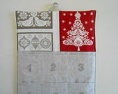 READY to SHIP/Christmas Advent Calendar/  in CHRISTMAS Tree  and Doves Red and Linen/ Christmas Countdown Calendar with Pockets in Scandi 2