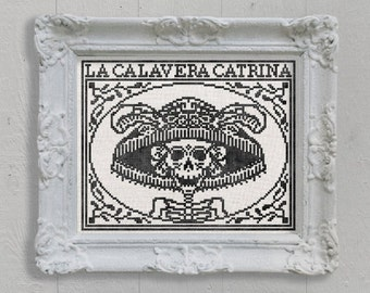 PDF La Calavera Catrina Day of the Dead Halloween cross stitch pattern by Dark Crosses at thecottageneedle.com wall art embroidery