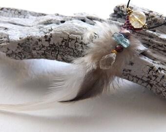 Feather pendant necklace,lutile quartz,pearl,aquamarine,garnet,quartz,leather cord,14kgf,seed beads