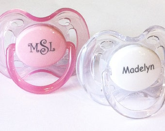 Avent pacifier etsy personalized pacifiers two monogram pacifiers baby girl gift baby personalized pacifier monogram pacifier avent personalized pacifiers negle Images