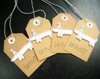 Handmade Birthday Gift Tags Set of 4, Dog Tags, Dog Gift Tags, Hang Tags
