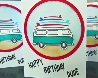 Surfer Birthday Card for Man, Summer Card for Guy, Happy Birthday Card Dude, Gift for Surfer, Ocean Birthday Gift Teenage Boy, VW Bus