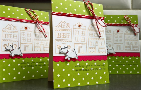 Westie Christmas Cards Set of 3, Gingerbread House Cards, Dog Holiday Cards Set