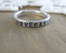 Rustic VEGAN Stacking Ring //Custom// Fine Silver // Personalized // Eco Friendly //Animal Friendly// Recycled // Hammered Ring