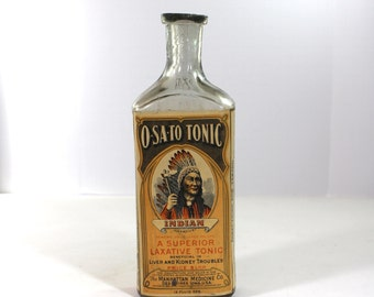 O-SA-TO Tonic Indian Graphic bottle