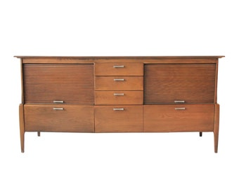 Long Vintage Mid Century Modern Geometric Credenza with Rolling Doors