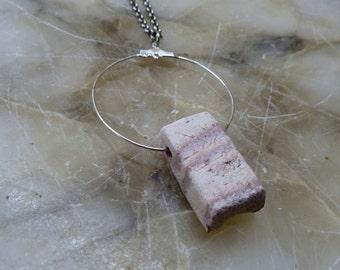 Sossusvlei necklace, natur striped ceramic bead, hoop jewelry, minimal , tribal, ethnic style