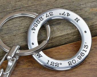 Mens Personalized Keychain - GPS Coordinates Longitude Latitude Keychain - Great anniversary gift for men