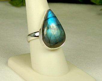 Labradorite Ring,Size 9, Blue Green Flash, Teardrop Shape, Sterling Silver, Natural Labradorite, Teal Labradorite, Teal Gemstone