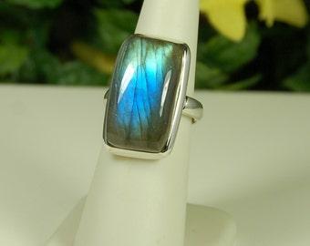 Labradorite Ring, Size 7.5, Electric Blue Flash, Large Labradorite, Spectrolite, Sterling Silver, Big Blue Labradorite, Natural Labradorite