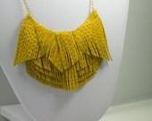 Yellow Embossed Leather Fringe Necklace