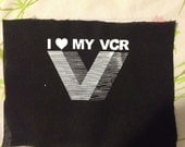 I heart my VCR vhs pride PATCH also the vestron logo