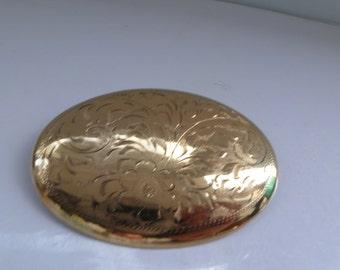 Birks Gold Filled Brooch Vintage Birks Gold Etched Brooch Birks Etched Flower Oval Brooch