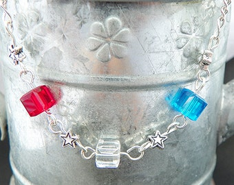 July 4th Necklace Patriotic Necklace 4th of July necklace red, white & blue necklace silver chain necklace  17 inch necklace summer necklace
