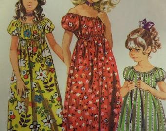 MAXI PEASANT DRESS Pattern • Simplicity 9389 • Girls 14 • Midriff Dress • Boho Dress • Pullover Dress • Childrens Patterns • WhiletheCatNaps