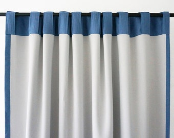 Linen curtain back tabs. Custom color or blue curtains. Drapes lined with thin lining, unlined, blackout curtains for bedroom or living room