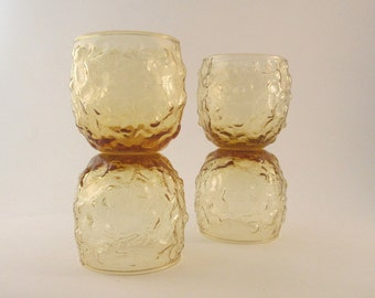 Vintage Low Ball Bar Glasses Roly Polly Anchor Hocking Milano Yellow Set of Eight