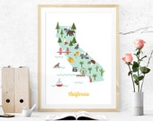 California retro style illustrated map print wall home nursery decor