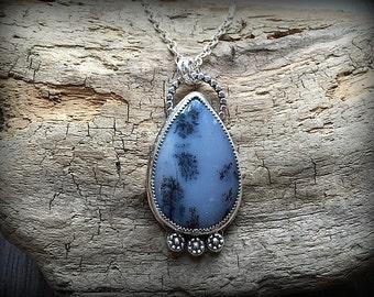Dendritic Opal Teardrop Sterling Silver Necklace