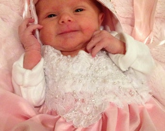 Pink Lace Layette gown Newborn Girls Chiffon Bring me Home gown