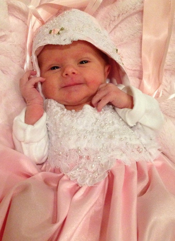 Pink Lace Layette gown Newborn Girls Chiffon Bring me Home