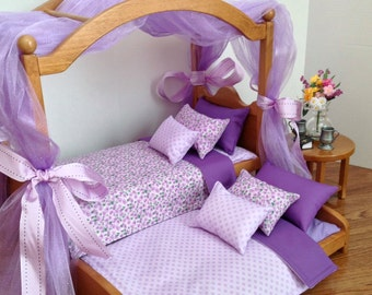American Girl Doll:  Furniture, doll canopy bed, trundle and end table
