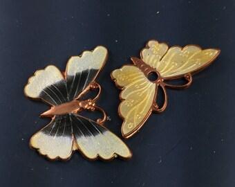 ENAMEL BUTTERFLY blank . butterfly enamel jewelry component. guilloche enamel. cloisonne enamel. vintage  No.00145
