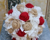 Custom order for MiMi - red and jade (mint) burlap and lace wedding bouquets