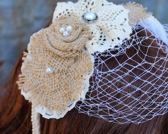 Rustic birdcage veil headband with burlap flowers and lace - headband with removable veil - hair piece - bridal veil - vintage lace f8