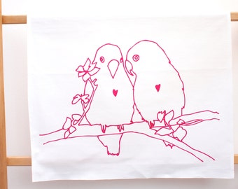 Lovebirds Print Tea Towel